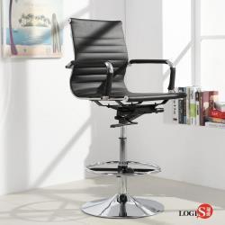 LOGIS-安菲米皮革低背高吧椅 梳妝椅 辦公椅 事務椅-黑【BP10A0X】