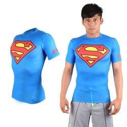 【UNDER ARMOUR】美國進口 男HG短袖緊身衣-慢跑 路跑 超人 蝙蝠俠 UA 藍紅黃