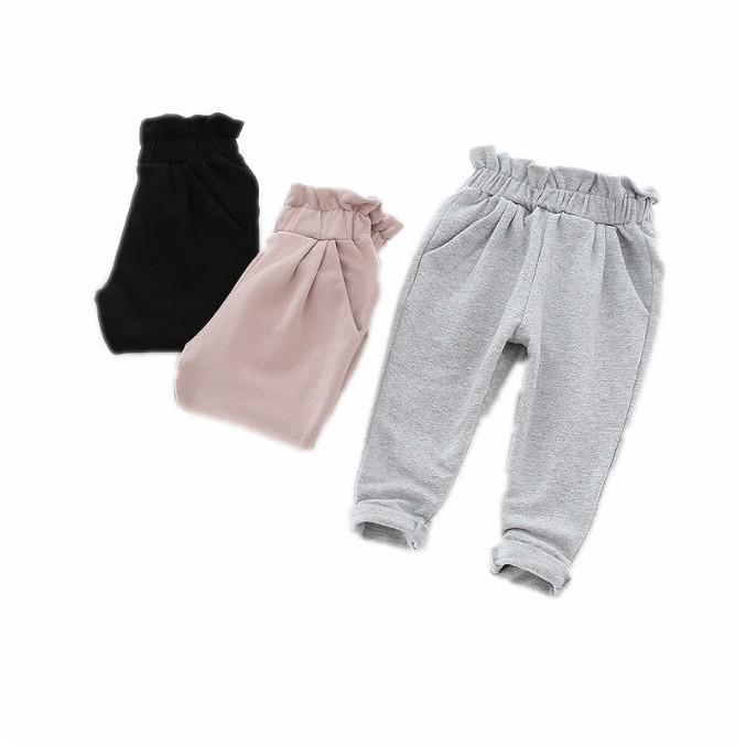 【現貨】可愛女孩加絨木耳邊造型休閒運動長褲【蘋果小舖】(ML) A75