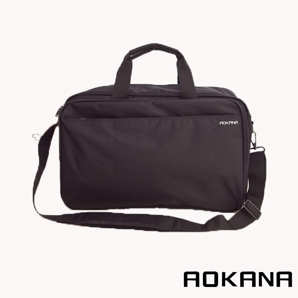 AOKANA MIT台灣製 輕量防潑水多隔層商務公事包 單肩電腦包 側背包 電腦包 包包 黑色 02-016