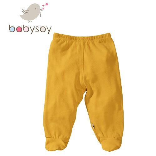 美國[Babysoy] 有機棉百搭彈性包腳長褲525 陽光黃