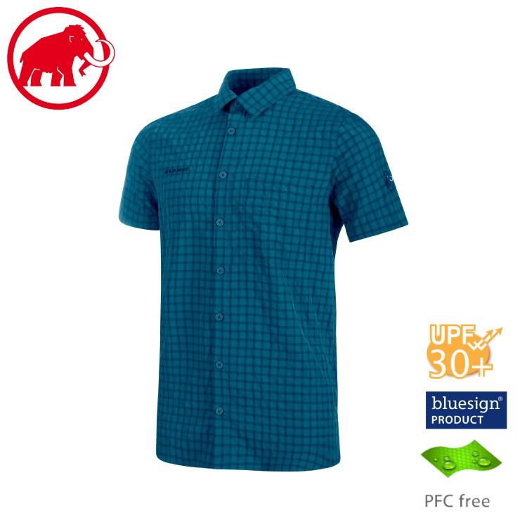【MAMMUT 長毛象 男 Lenni 短袖排汗襯衫《波賽頓藍》】1015-00300/透氣快乾/吸濕排汗/夏季襯衫