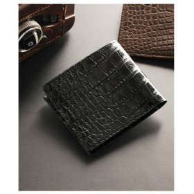 mieno 折り財布クロコダイルマット両カード無双仕立て本革レザー ブラック