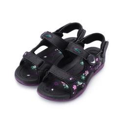 母子鱷魚 碎花蝴蝶磁釦涼鞋 黑紫 女鞋 鞋全家福