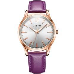 JULIUS 聚利時 微星綻耀彎針設計皮帶腕錶-(四色/39mm)