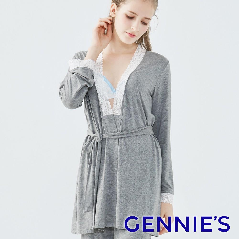 優雅蕾絲綁帶罩衫-深灰(TPA24)-Gennies專櫃