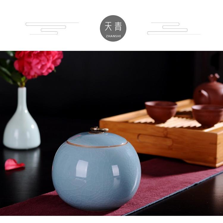 【萃本齋】天青 哥窯瓷禮器茶葉罐(3兩) 茶壺 茶罈 陶瓷 茶葉 包裝盒 密封罐 存儲罐 老茶