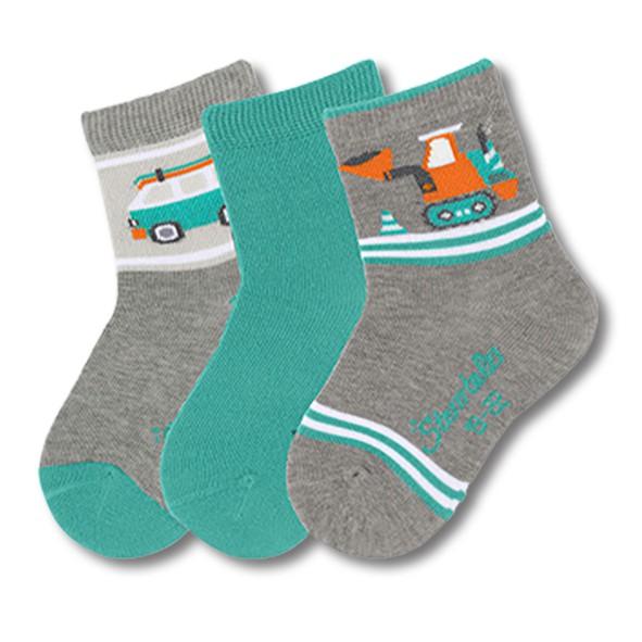 STERNTALER寶寶襪子3入組-車子灰(8-14cm) C-8321623-542