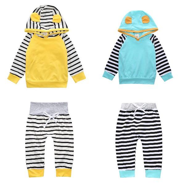 長袖套裝 條紋嬰兒服 立體耳朵 長袖帽T 棉質長褲 秋冬童裝 SK9288 好娃娃
