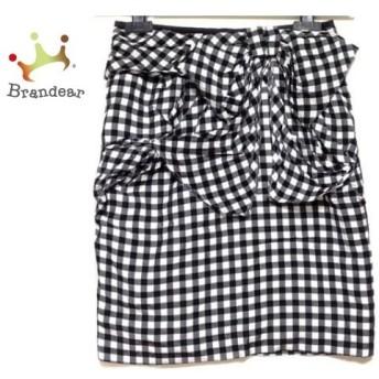 ジャスグリッティー JUSGLITTY スカート サイズ1 S レディース 黒×白 チェック柄/リボン 値下げ 20190912