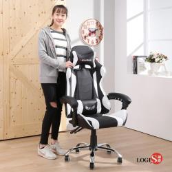 LOGIS邏爵~KLV戰地皮面電競椅/白黑 電腦椅 主管椅 賽車椅 皮椅【DIY-WE919】