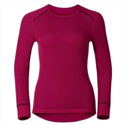 【ODLO】女款機能銀離子圓領保暖排汗內衣 (櫻桃紅/靛藍/深麻灰 三色可選#152021)