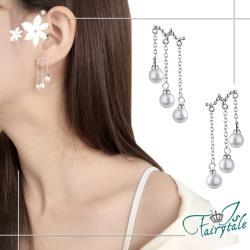 【伊飾童話】三層珍珠*銅電鍍銀流蘇耳環