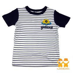 【LOVEDO-艾唯多童裝】星際飛碟 拼色條紋短袖T恤 (白) BSH13445