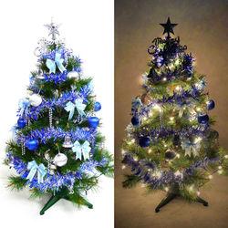 摩達客 台灣製3尺(90cm)特級綠松針葉聖誕樹 (藍銀色系配件)+100燈鎢絲樹燈一串