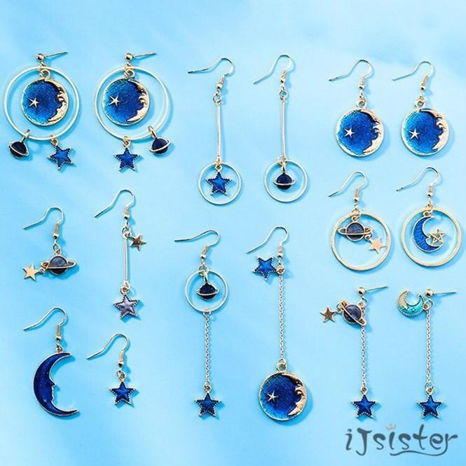 星空 韓系 清新 藍色 星星 月亮 耳針 不對稱 百搭 星球 幾何 圓形 長款 耳夾 耳環