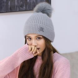 Acorn*橡果-韓系大毛球內絨加厚保暖毛帽1814(灰色)