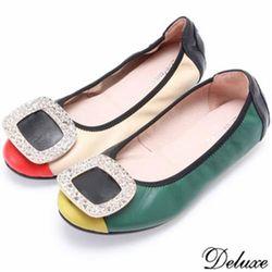 【Deluxe】全真皮韓系流行撞色風格方形飾扣娃娃鞋(綠)-607-29
