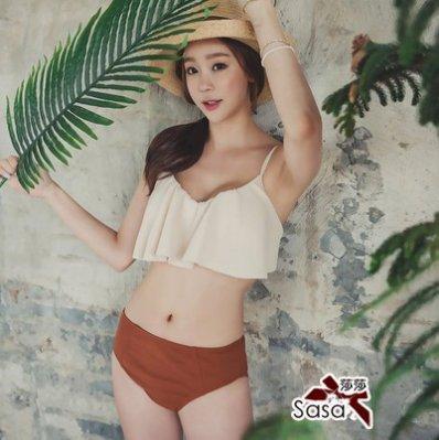比基尼*╮玫瑰。誌  韓版簡約大地色自然二件套鋼圈温泉比基尼泳衣泳裝S1631 ,一套直購價690元