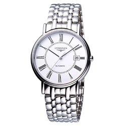 LONGINES Presence 經典羅馬機械腕錶 白 38.5mm L49214116