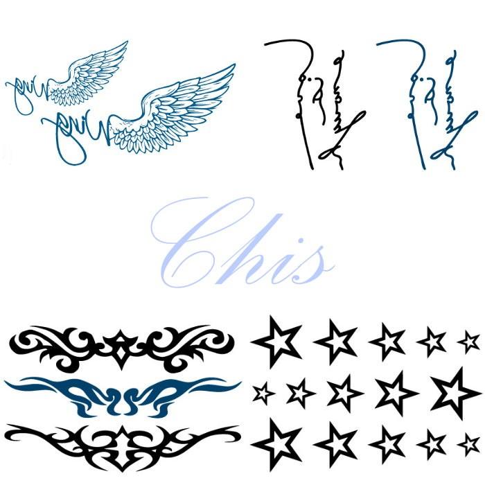 Chis Store fn【彩色個性刺青貼紙】韓國男女 小清新 原宿風 防水紋身貼紙 天使翅膀 英文字母 五角星星造型