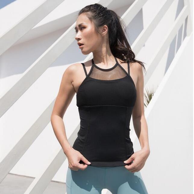 帶胸墊美背速乾彈力健身背心瑜伽背心免穿內衣瑜伽小可愛正韓上衣瑜伽運動上衣美背背心肩帶背心 CVU