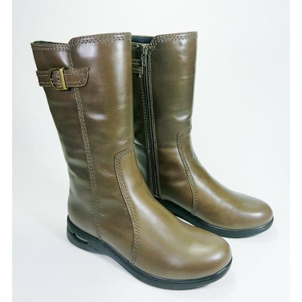 【創意者鞋坊】 歐美真皮復古金屬釦帶小氣墊中筒靴-棕綠/ 女-原價4980元