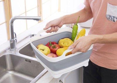現貨-移動水槽 洗菜籃 蔬果 瀝水籃 移動式水槽 折疊式洗菜籃 矽膠 露營用品 可折疊水槽