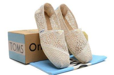 Miss ♥ Shoes - 美國品牌TOMS帆布鞋Morocco Crochet蕾絲簍空款【米白】早春  洋裝