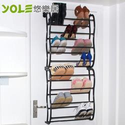 YOLE悠樂居-多功能收納八層門後鞋架-黑色