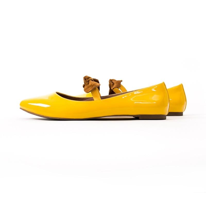 【Lewis Walt】 西班牙鏡面羊皮蝴蝶結尖頭平底鞋