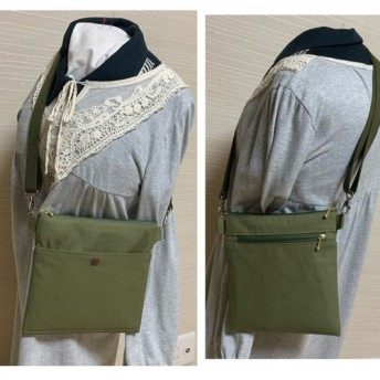 帆布 両面ポケット 薄型 サコッシュ バック ショルダー可能 オリーブ色