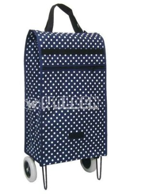 【葳爾登】菜籃車旅行袋二輪行李袋行李箱購物袋環保袋採買車折疊輕巧購物車9210藍點