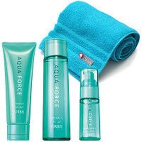 ORBIS(オルビス) 乾燥・インナードライ対策スキンケア3ステップセット (アクアフォース洗顔料・化粧水・保湿液) (さっぱりタイプ・ふわふわ抗菌タオル付き)