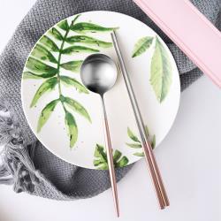 Homely Zakka 簡約時尚北歐風304不鏽鋼餐具組(筷子+湯匙)-玫瑰金