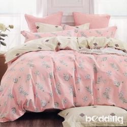 BEDDING-100%棉6尺加大雙人薄式床包三件組-昕薇-粉