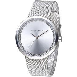 A│X Armani Exchange 米蘭時尚雅致晶鑽女錶-銀白(AX4501)