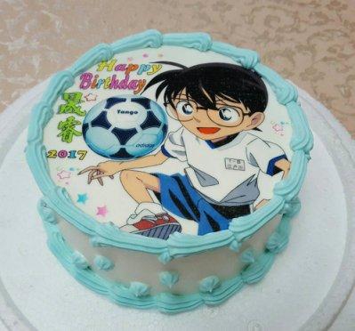 六吋 柯南   生日 相片 卡通 造型 蛋糕