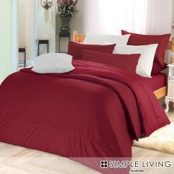 澳洲Simple Living 特大300織台灣製純棉被套床包組(魅力酒紅)