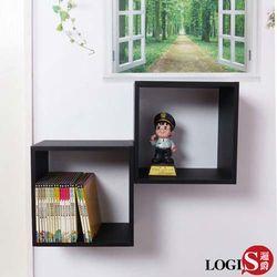 邏爵 LOGIS 黑白魔術口格子壁櫃壁架展示櫃 正方形兩入組 B34-B