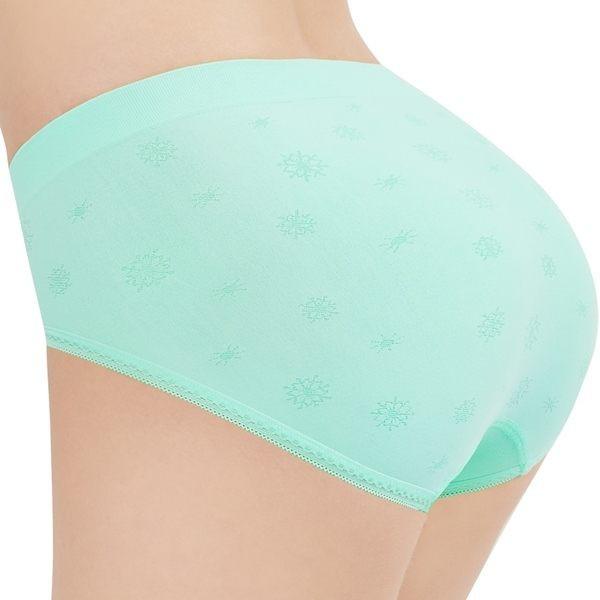 SWEAR 思薇爾 彈戀愛系列M-XL提花中腰三角無縫褲(春漾綠)