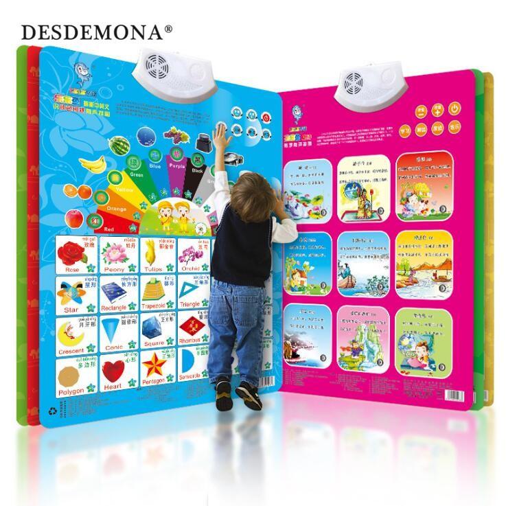 嬰幼童益智早教玩具 兒童益智玩具早教發聲看圖識字拼音字母寶寶啟蒙有聲掛圖兒童安撫玩具