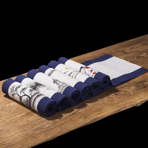 5Cgo棉麻桌旗新中式禅意茶席麻布茶幾布藝餐桌電視櫃桌布中國風茶道旗30X120古樸簡約撞色拼接589808158367