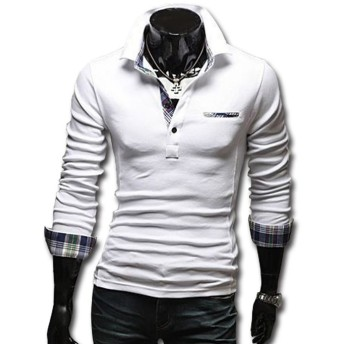 ポロシャツ - SHEYA ポロシャツ メンズ Tシャツ カットソー 長袖 ロンT チェック ゴルフウェア トップス カジュアル コーデ