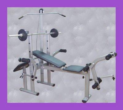 【 奇力健身館】多功能舉重床,含長桿和槓片50公斤「110磅」推舉、蝴蝶臂、二頭肌人魚線