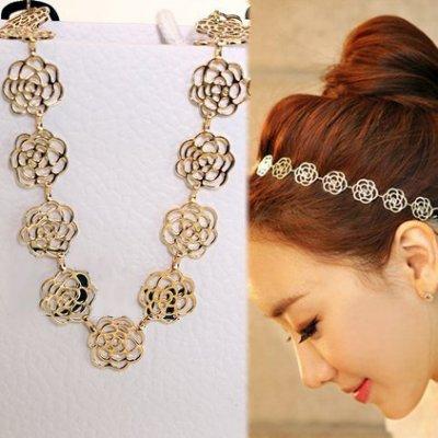 ╭✿蕾兒0509✿╮FE001-韓國時尚飾品頭飾 玫瑰花鏤空髮帶髮箍頭箍夏日盤髮