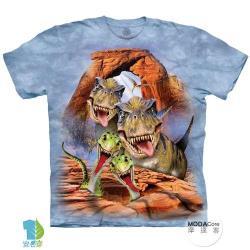 摩達客 (預購)(男童/女童裝)美國進口The Mountain 恐龍哦耶 純棉環保藝術中性短袖T恤