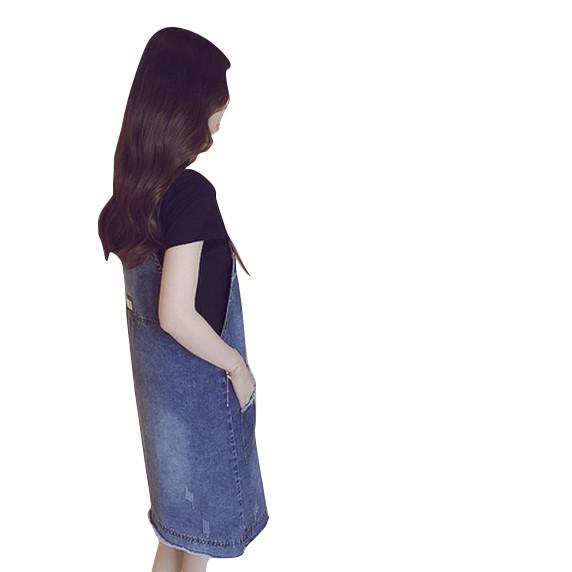 韓版夏季新款打底衫短袖T恤+牛仔背帶洋裝顯瘦遮肚子寬鬆兩件式