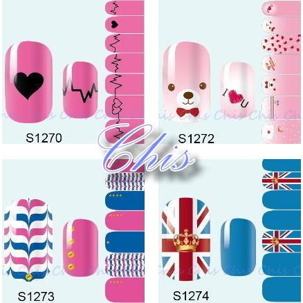 Chis Store fn 歐美時尚卡通可愛造型指甲貼紙 美甲指甲油貼花 彩繪指甲果凍指甲貼片法式指甲貼