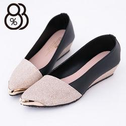 【88%】台灣製 搶眼金屬尖頭鞋頭 皮革拼接璀璨金蔥 坡跟楔型增高 3色
